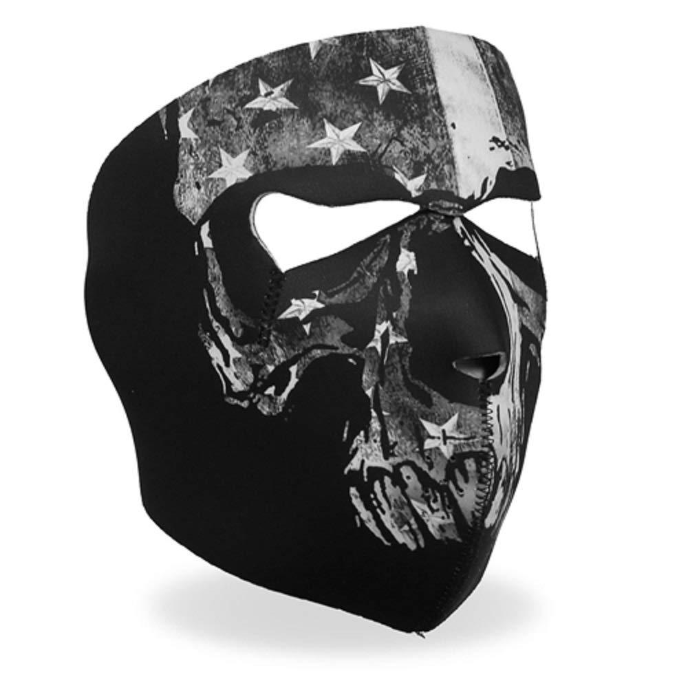 Distressed USA American Flag Skull Reversible to Black Full Neoprene Face Mask