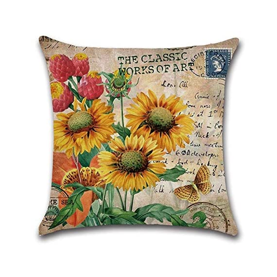 PSDWETS Home Decor Summer Style Sunflower Decorative Outdoor Throw Pillow Covers Set of 4 Cotton Linen Yellow Cushion Covers Pillow Case for Sofa,Car,Bed,Couch,18 x 18 - Material:High quality,Cotton linen Size:Approx 18x18 inch,45 x 45 cm Only have pillow covers,Inserts are not included - patio, outdoor-throw-pillows, outdoor-decor - 51vNAlwvwRL. SS570  -