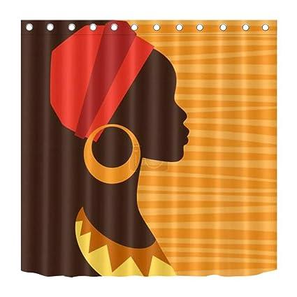 LB Decoración étnica de la Cortina de Ducha de África,Chica Negra con paño de