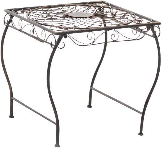 Mesa de Jardín Zarina | Mesa de Exterior en Hierro Forjado I Mesa Cuadrada de Terraza Estilo Rústico I Color:, Color:Bronce