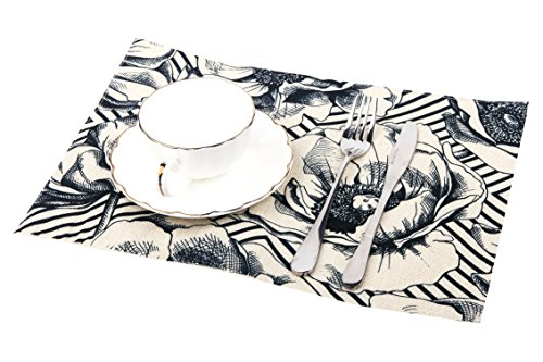 OJMMAT Anemones Printed Placemat Perfect for Summer, Dinner Parties, Wedding and Daily Use, Black and White, Set of (Printed Placemat)