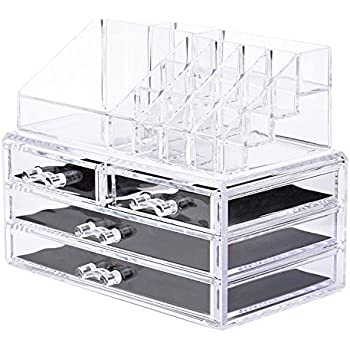 Makeup Storage Organizer,Oak Leaf Cosmetic Organizer and Jewerly Display Box - 2 Large Drawers Space and 2 Small Drawers Space- Saving,Clear,Stylish Acrylic Bathroom Case