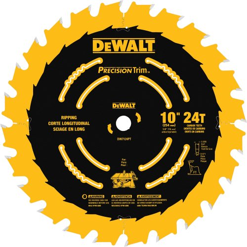 (DEWALT DW7124PT 10-Inch 24 Tooth ATB Ripping Saw Blade with 5/8-Inch Arbor and Tough Coat Finish)