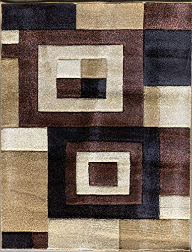 Contempo Modern Contemporary 400,000 Point Abstract Area Rug Brown Beige Rust Tan Design 333 (4 Feet X 5 Feet 3 Inch)