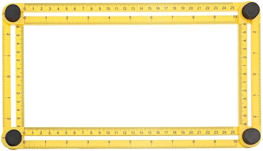 Un known Mobile Phone Replaceable ABS/Stainless Steel Multifunction Multi-angle Folding Ruler Flexible Four Side Parallel Ruler Accessory Machine Parts (Color : Yellow) Yellow