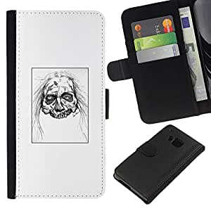 All Phone Most Case / Oferta Especial Cáscara Funda de cuero Monedero Cubierta de proteccion Caso / Wallet Case for HTC One M9 // Zombie Head - White Walker