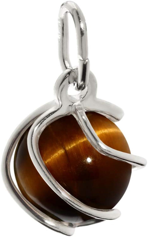 Colgante de bola NKlaus Esfera de plata esterlina 925 ojo de tigre real 7mm damas 7868