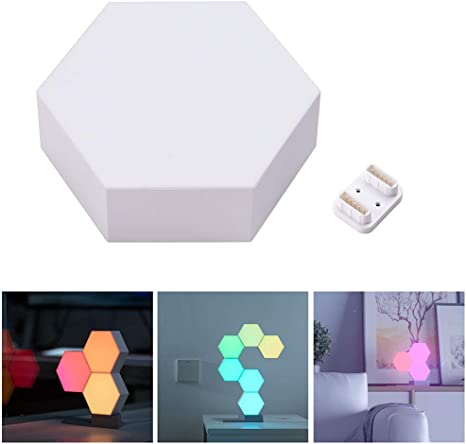 Ampersand Shops WiFi Aurora Rhythm Smart LED Light Panel Voice Control Compatible with Alexa and Google Assistant Touch Sensor 16 Million Colors Smartphone Control 3X Led Smart Panels with Base Kit