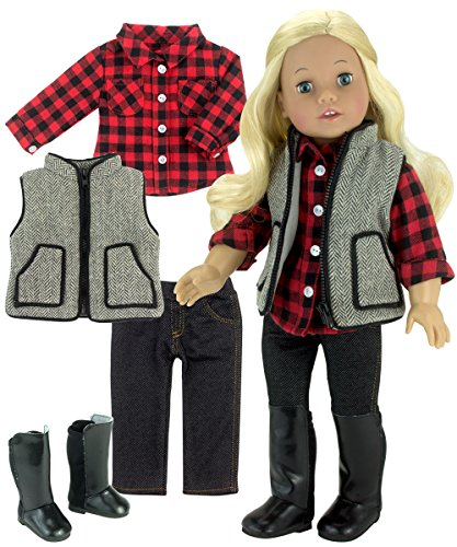 (Sophia's Winter Doll Outfit with Boots Includes Red Checkered Shirt, Pants, Vest & Tall Boots for 18 Inch Dolls)