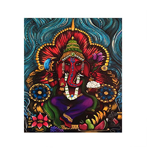 dezirZJjx Modern Canvas Painting£¬Modern Artwork Wall Art Paintings, Holy Indian Elephant Deity Ganesha Wall Painting Picture Frameless Art Decor - M