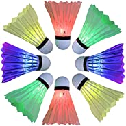 Arespark LED Badminton Shuttlecock, Dark Night Colorful LED Goose Feather Glow Birdies Lighting, Light Up Shut