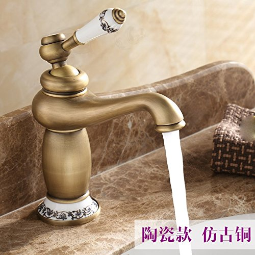 2 LHbox Basin Mixer Tap Bathroom Sink Faucet Euro-copper single hole basin mixer console table basin basin sink vanity the antique faucet hot and cold, and ceramic pink gold 118