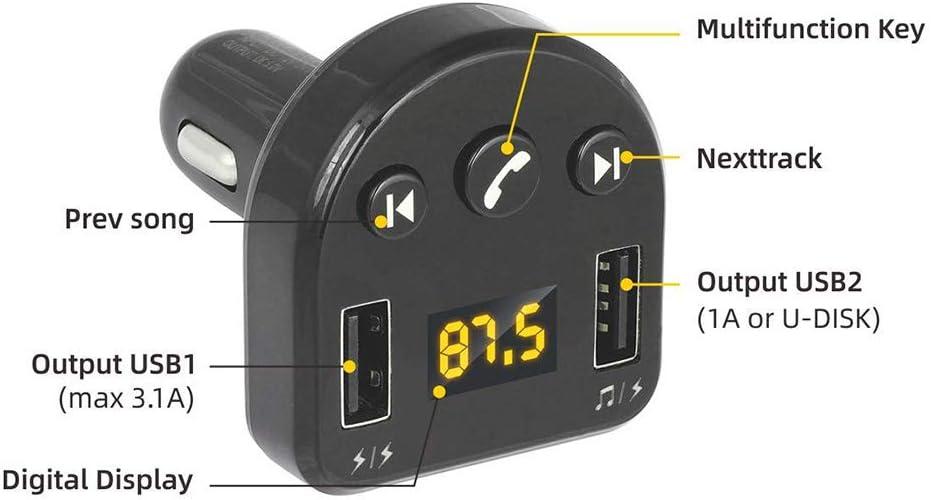 Tifanyyg Bluetooth FM del transmisor de Adaptador de Manos Libres Universal transmisor FM inal/ámbrico llamante//USB Flash Drive Reproductor de m/úsica MP3 2 Puertos USB Cargador