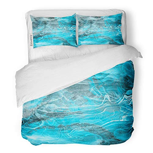 Tarolo Bedding Duvet Cover Set Colorful Agate Mineral Marble Colored Nacre Abstract Architecture Banded 3 Piece Queen 90