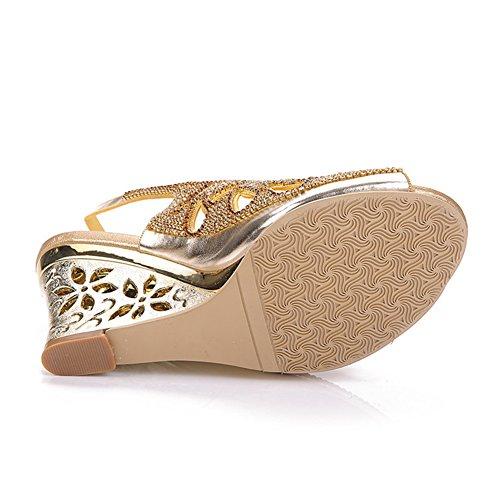 tamaño Sandalias Zapatos Palabra Alto Summer De Y Slope Estados 37 Unidos Rhinestones Sexy New Tacón Cai Hebilla Mujer Europa qTvwBBp