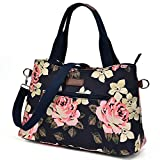 Womens Tote Bag Lightweight Floral Handbag Flower Rose Pattern Shoulder Bag