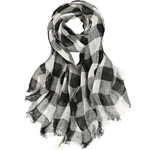 - ZORJAR 100% Linen Checks Long Sarong Wrap Beach Cover Up Large Scarf Scarves Wrap (Black/White)