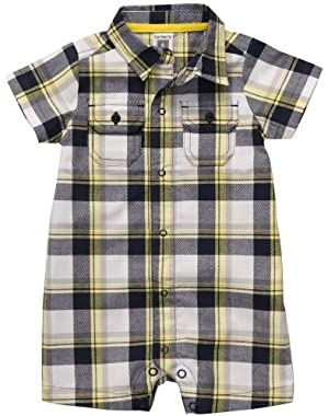 Carter's Baby Boys' Short-sleeve Plaid Romper