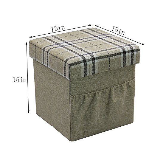 """HStex Folding Storage Ottoman Cube With Wooden Tray,Linen Fabric,Beige,15""""×15""""×15"""""""