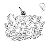 14K White Gold 18mm Sexy Lady Saying Charm w/ Lobster Clasp