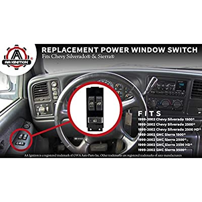 Master Power Window Switch, Gray - Driver Side Door - Fits Chevrolet Silverado, GMC Sierra 1999, 2000, 2001, 2002-1500, 2500, 2500 HD, 3500 - Window Switch, Housing Fits Chevy - Replaces GM 15047637: Automotive