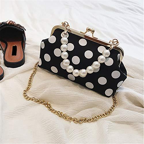 Wave Point Party Clutch Handbag Printing BeautyWJY Black Bag Purse Vintage Evening Women's qzWtU4p