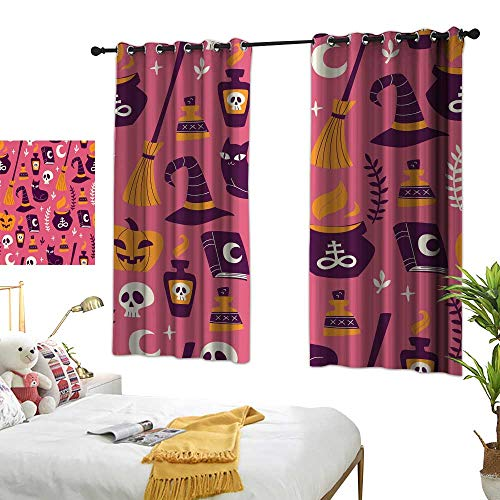 wwwhsl Different Visual Experience Experience Curtains Hand Drawn Halloween Seamless Pattern Polyester Does not Fade, Durable and not Easy to Dirty W62.9 xL45.2