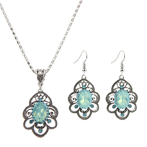 [Lianjie Alloy Crystal Turquoise Chain Pendant Necklaces Drop Dangle Earrings Jewelry Sets for Women Girls] (Tiffany Blue Costume Jewelry)