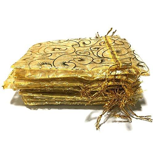 Golvery 100 Piezas Champagne Eyelash Organza Bolsas de Regalo, Bolsas de cordón Bolsas de la joyería, Bolso de Caramelo...