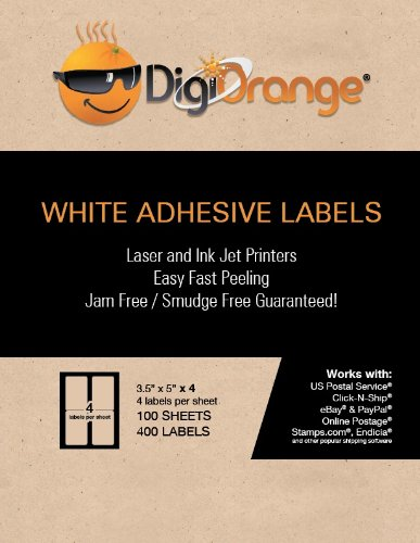 "Digiorange Pack of 400 White Mailing/shipping Labels for Laser/inkjet Printers. 4 Per Sheet 3.5 X 5"""