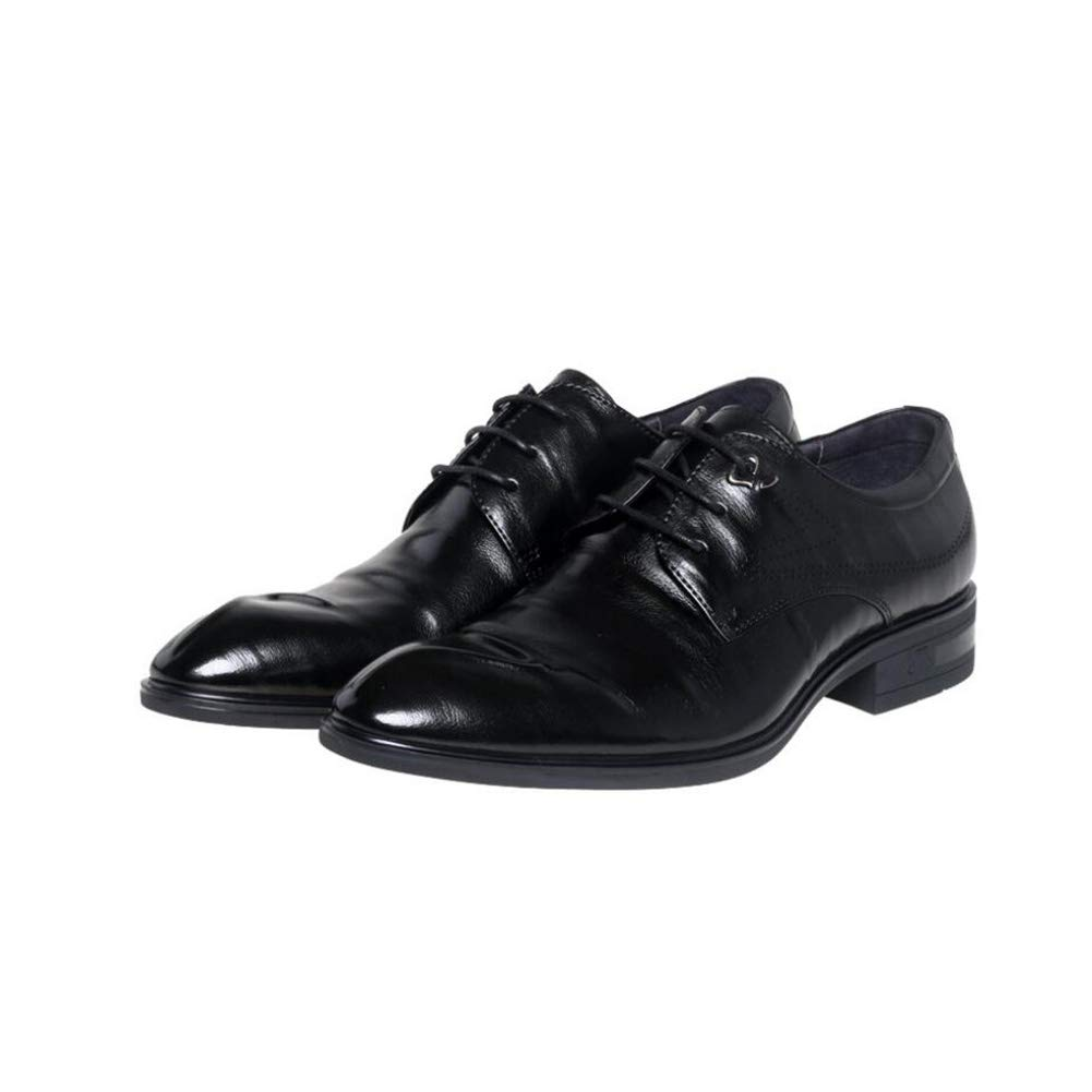 Yaxuan Herren Formale Atmungsaktive Schuhe, Frühlings Lederschuhe, Neue Atmungsaktive Formale Business-Schuhe, Spitze Zehen Kleider Schuhe, Hochzeits-Casual-Party,schwarz,39 - 3f1f0d