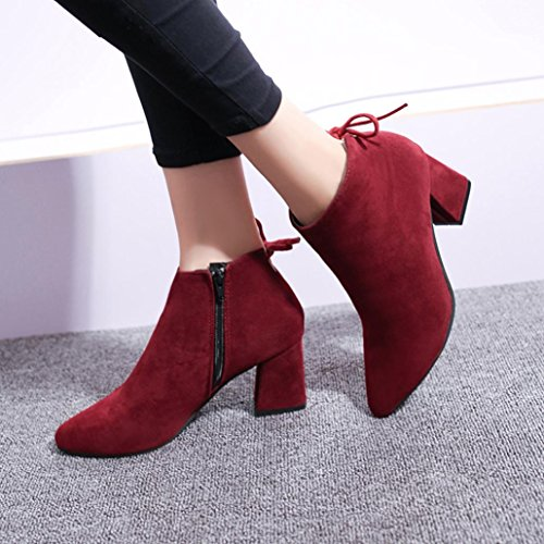 Boots Hunpta Ankle Square Platform Boots Martin Up Boots Heel High Women Heels Lace Wine F7F1xnq6w