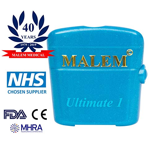 Malem Ultimate Bedwetting Alarm (Blue) for Boys and Girls - Loud Sound and Strong Vibration Wake Even Deep Sleepers - Award Winning Enuresis Alarm