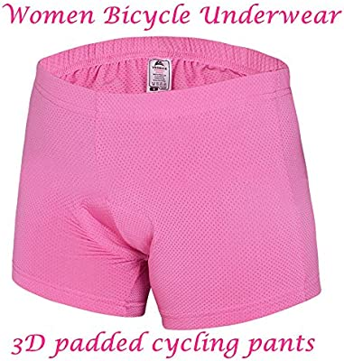 Womens Gel 3D Padded Bike Shorts Pants Bicycle Cycling Underwear Shorts-Pink