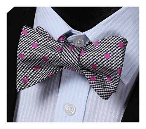 HISDERN Men's Polka Dot Floral Jacquard Woven Wedding Party Self Bow Tie Set Pink/Black]()