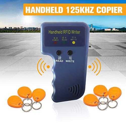 SMALL-CHIPINC - RFID Handheld 125KHz EM4100 ID Card Copier Writer Duplicator Programmer Reader+6Keys+6pcs Rewritable ID Keyfobs Tags Cards