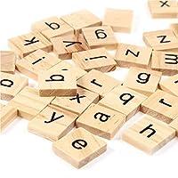 1000のセット木製Scrabbleタイル文字with 1ラックホルダーセットボードゲーム、壁の装飾& Arts and Craftsの商品画像
