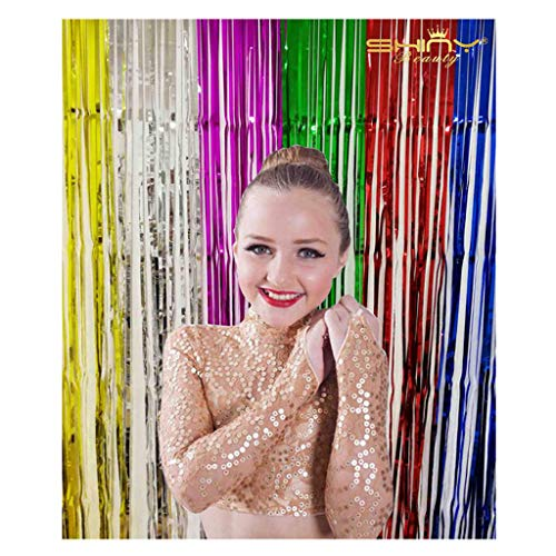 Foil Fringe Curtain Multicolor-3FTX8FT-Foil Fringe-Backdrop,Tinsel Door Window Curtain, Party Photo Booth Background for Birthday Party and Bachelorette Party Photo Booth Wall Decoration (Multicolor)