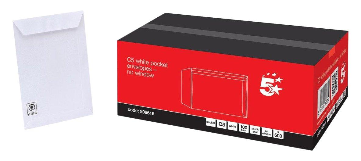 5 Star Envelopes Pocket Peel and Seal 100gsm White C5 Ref [Pack 500]