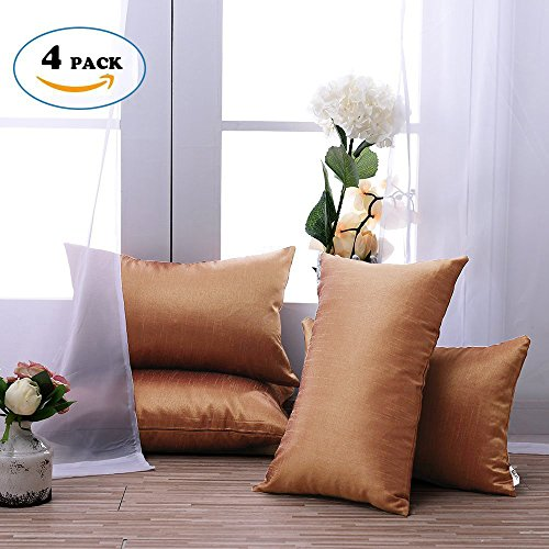 Euro Style Chaise (Euro Decorative Cushion Covers for Couch - PONY DANCE Supersoft Throw Pillow Covers Home Decorative Cushion Shams for Sofa with Hidden Zipper,Golden Brown,12