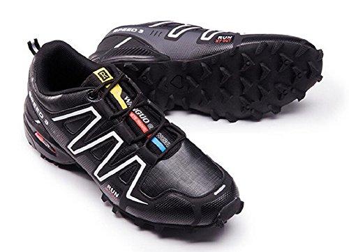 Herren Trail Running Schuhe Leistung im Freien Schnürschuhe Trail Runner von JiYe Schwarz-Weiss