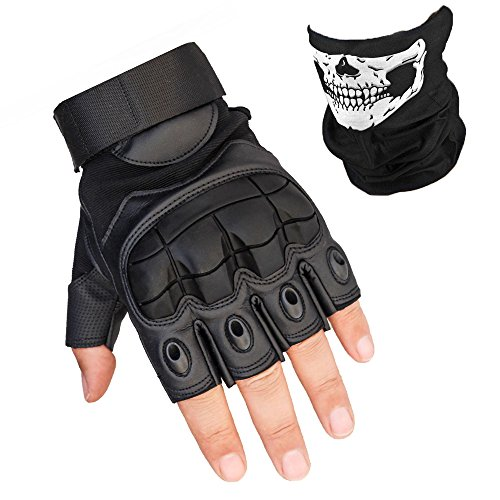 K-mover Fingerless Hard Knuckle Tactical Gloves Military Tactical Gear Half Fingerless Motorcycle Gloves for Men and Women (Black, X-Large) ()