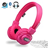 Bluetooth Headphones with Speaker, Rechargeable Stereo Wireless Portable On-Ear Headsets with Built-in Microphone for Calling, Supports TF Card and FM Radio by DECEYO (Pink)