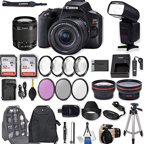 - Canon EOS Rebel SL3 DSLR Camera with EF-S 18-55mm f/4-5.6 is STM Lens + 2Pcs 32GB Sandisk SD Memory + Digital Flash + Filter & Macro Kits + Backpack + 50