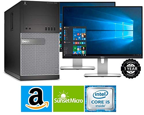 Dell Optiplex 9020 Mini Tower Desktop PC, Intel Core i5-4570, 16GB Ram, 2TB SATA Drive + 256GB SSD WiFi, DVD-RW, Dual 19