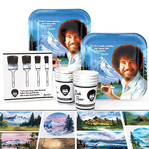 Bob Ross Classic Party Supplies Set | Themed Decorations and Recyclable Tableware | Serves 8 (Value) ()