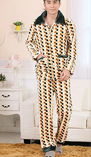 LJ&L Lovers loose pajamas flannel thick breathable home clothing suit comfort fashion underwear pajamas,Men,M by LIUJIANGLONG
