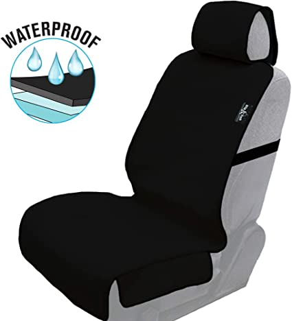 Perfect for Gym Premium Universal Fit Waterproof//Sweatproof Car Seat Cover and Protector with Free Seat Belt Protector Running and Pets! Best Non-Slip Neoprene Automobile Seats Protector Beach