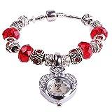 MODIWEN Bracelet Women Watch Bead Rhinestone Heart Shape Case Analog Ladies Quartz Wrist Watches