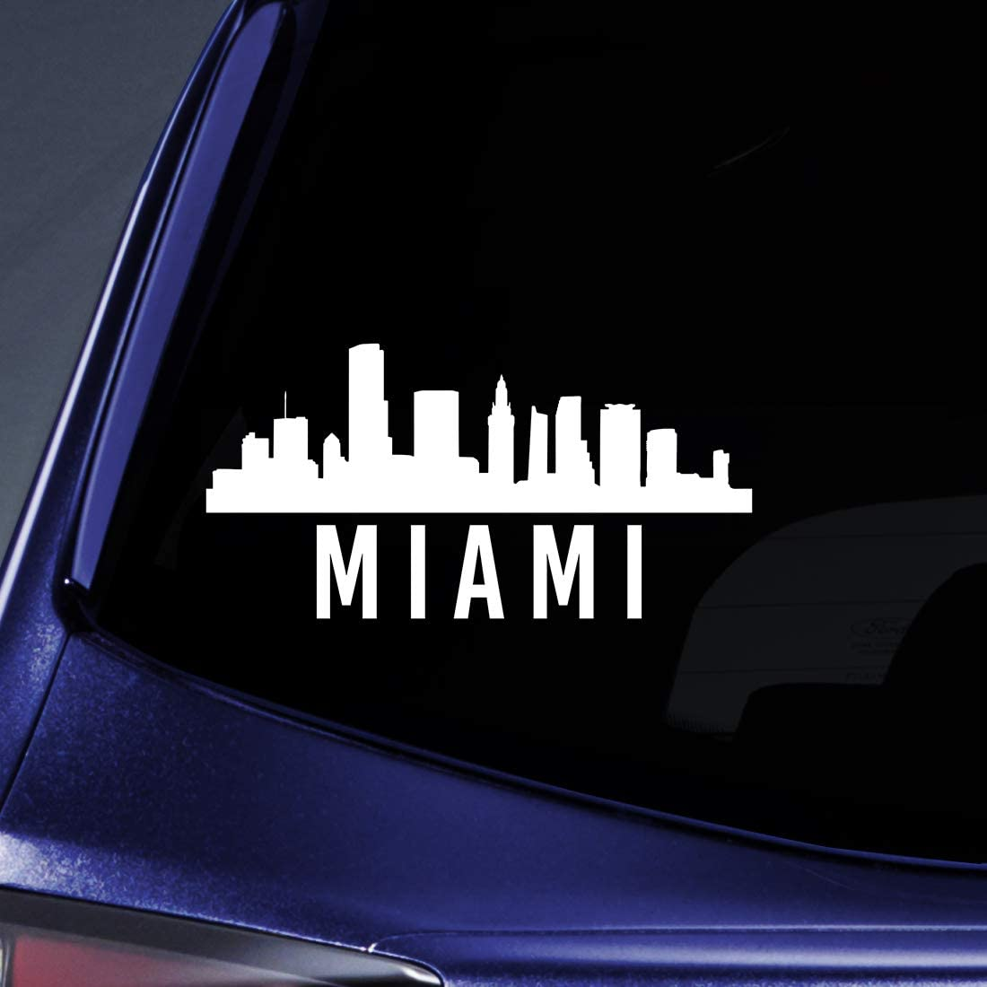 """Bargain Max Decals Miami City Outline Sticker Decal Notebook Car Laptop 5.5"""" (White)"""